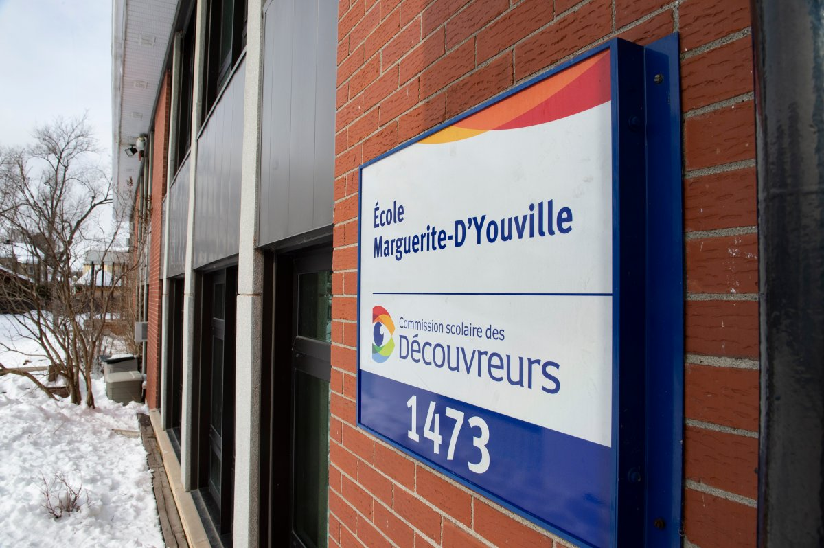 The Marguerite-d'Youville elementary school is closed after two students are believed to be infected with a variant of COVID-19 virus, Saturday, February 20, 2021 at  in Cap-Rouge, a suburb of Quebec City.
