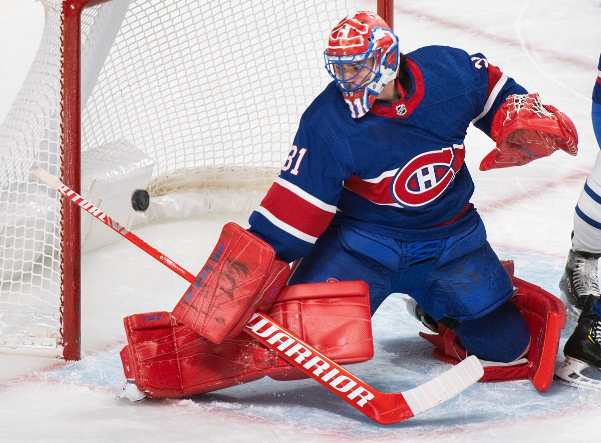 Montreal Canadiens goaltender Carey Price is scored on by the Toronto Maple Leafs during second period NHL hockey action in Montreal, Saturday, February 20, 2021.