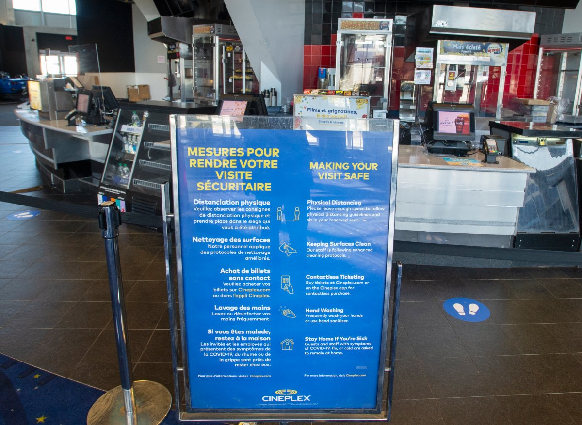 The concession stand remains closed  at a Cineplex movie theatre as cinemas in Quebec are allowed to re-open for spring break Friday, February 26, 2021  in Laval.