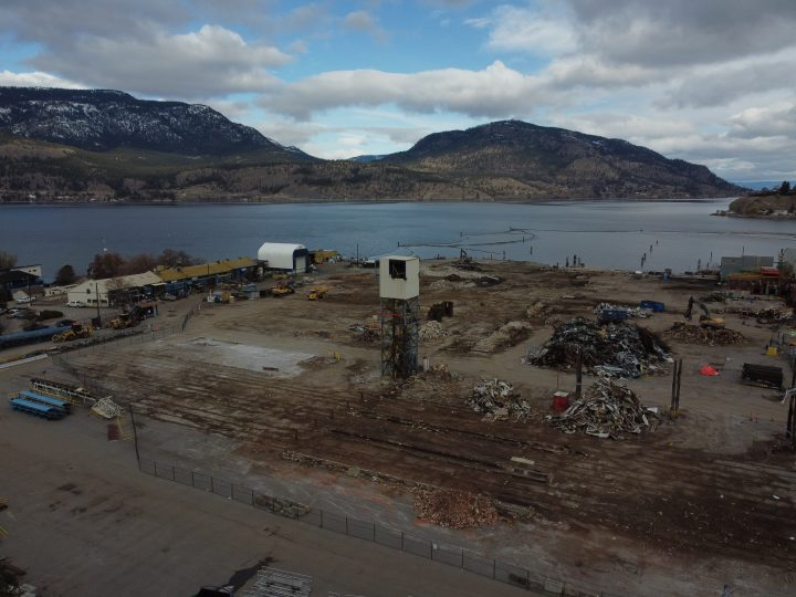 An aerial view of the Kelowna Tolko site.