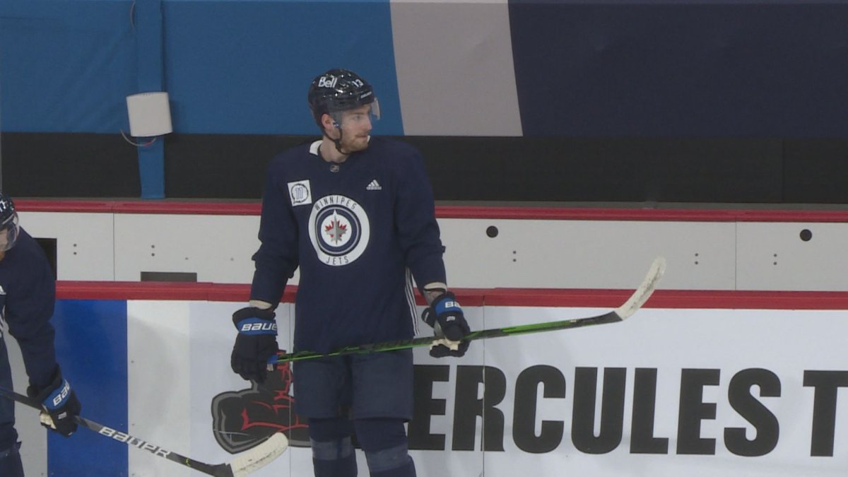 Pierre-Luc Dubois in his first official practice as a member of the Winnipeg Jets.