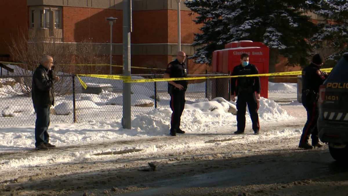 Calgary police outside Forest Lawn High School following reports of shots being fired.