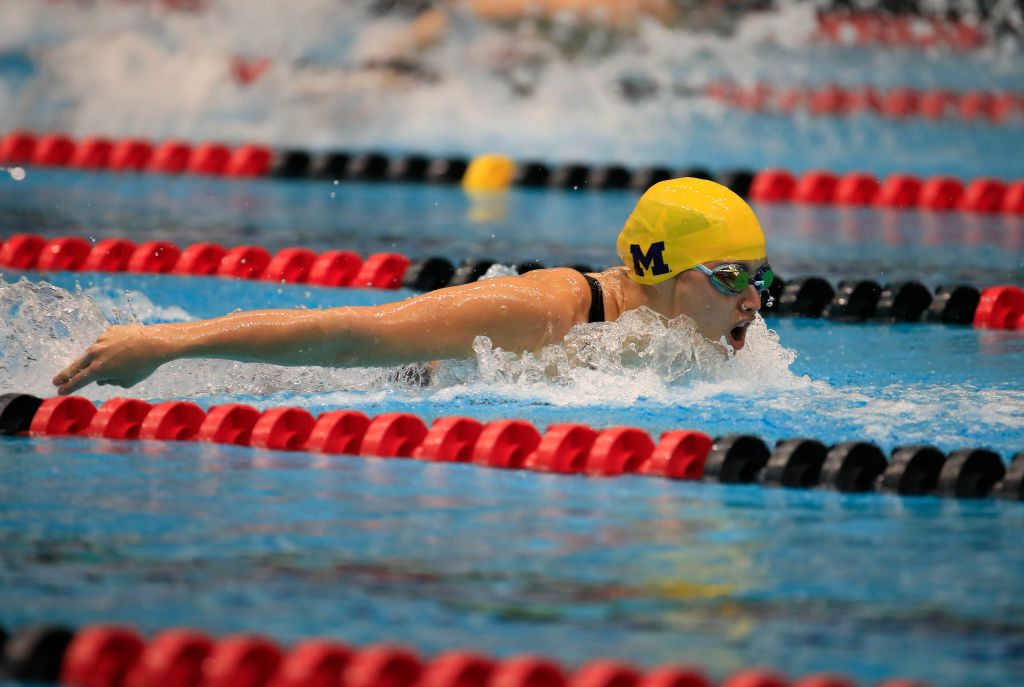 Maggie MacNeil swims to victory in her heat of the Woman 100 Meter Butterfly during the 2020 Toyota US Open Championship -Indianapolis on Nov. 13, 2020 in Indianapolis, Indiana.