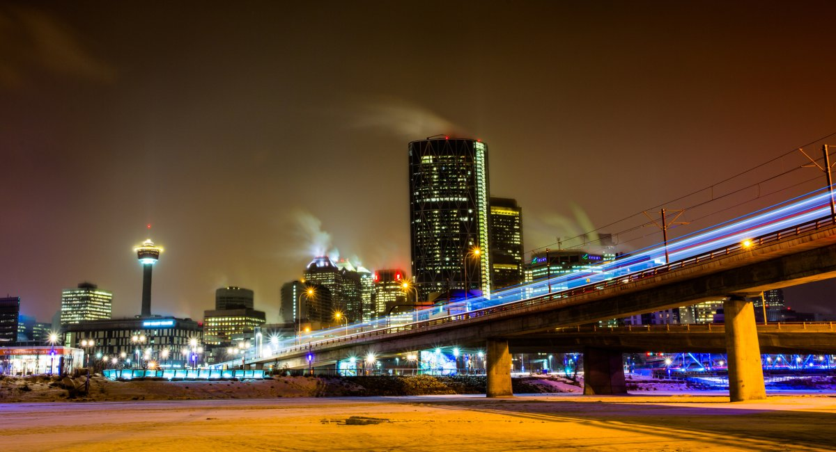 A winter cityscape of the Calgary downtown with light trails taken on Feb. 28, 2014.