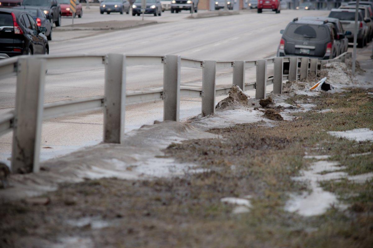 Thawing snow in Winnipeg.