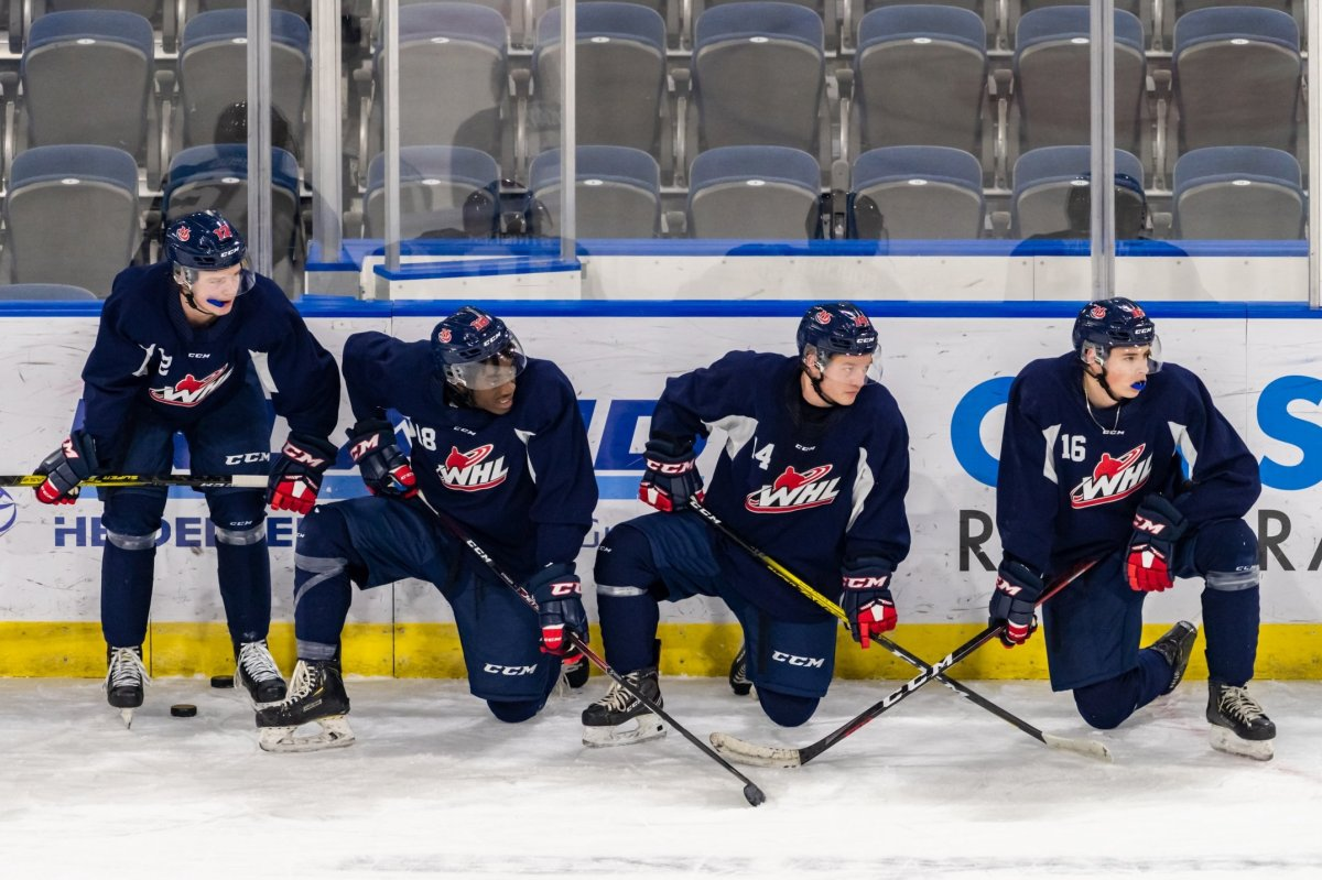The Lethbridge Hurricanes at a practice ahead of the 2021 WHL season.