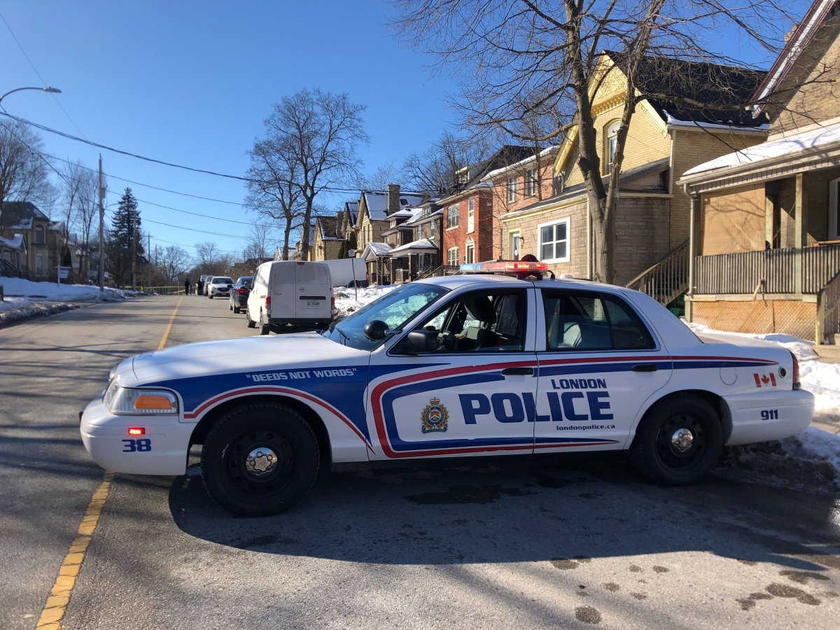 London police on scene of a death investigation on Stanley Street on Feb. 3, 2021.