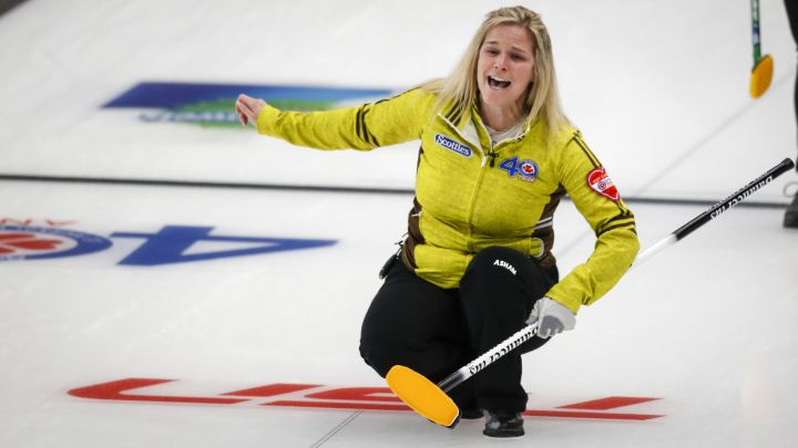 Team Manitoba skip Jennifer Jones reacts as she makes her last shot against Team Saskatchewan at the Scotties Tournament of Hearts in Calgary, Alta., Monday, Feb. 22, 2021.
