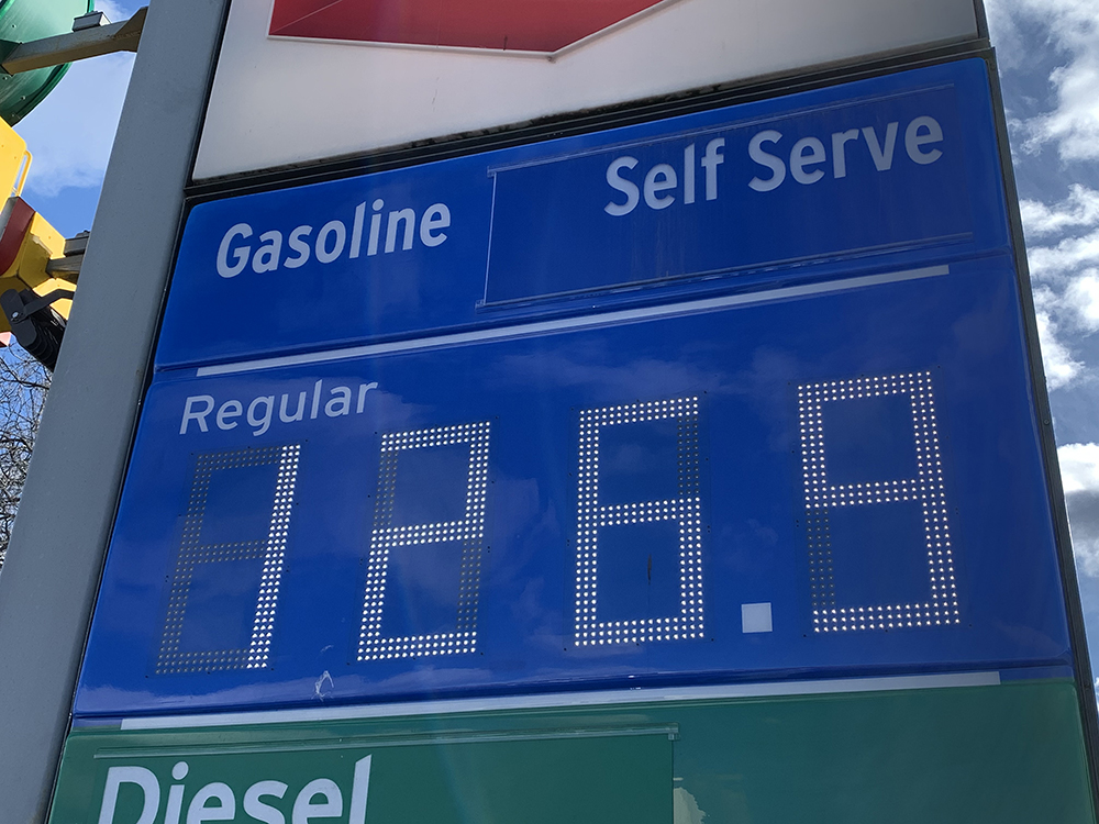 The price of gas rose from $1.179 a litre earlier in the week to $1.269, with nearly all Kelowna stations in financial lockstep on Friday.