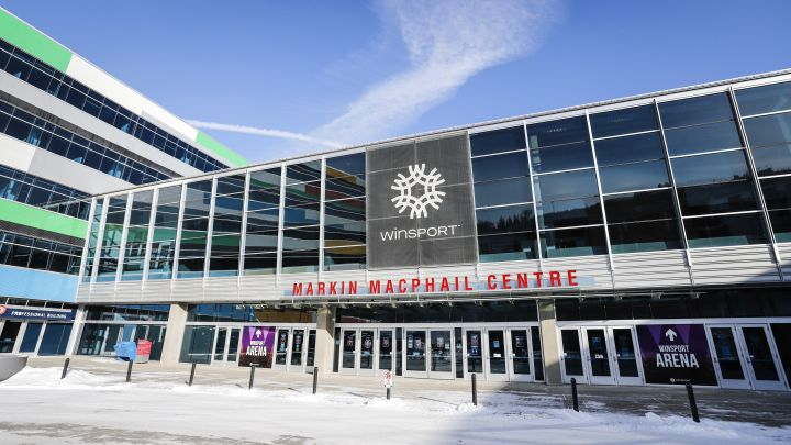 Preparations are under way at WinSport's Markin MacPhail Centre where the Scotties Tournament of Hearts will take place, in Calgary, Thursday, Feb. 11, 2021.