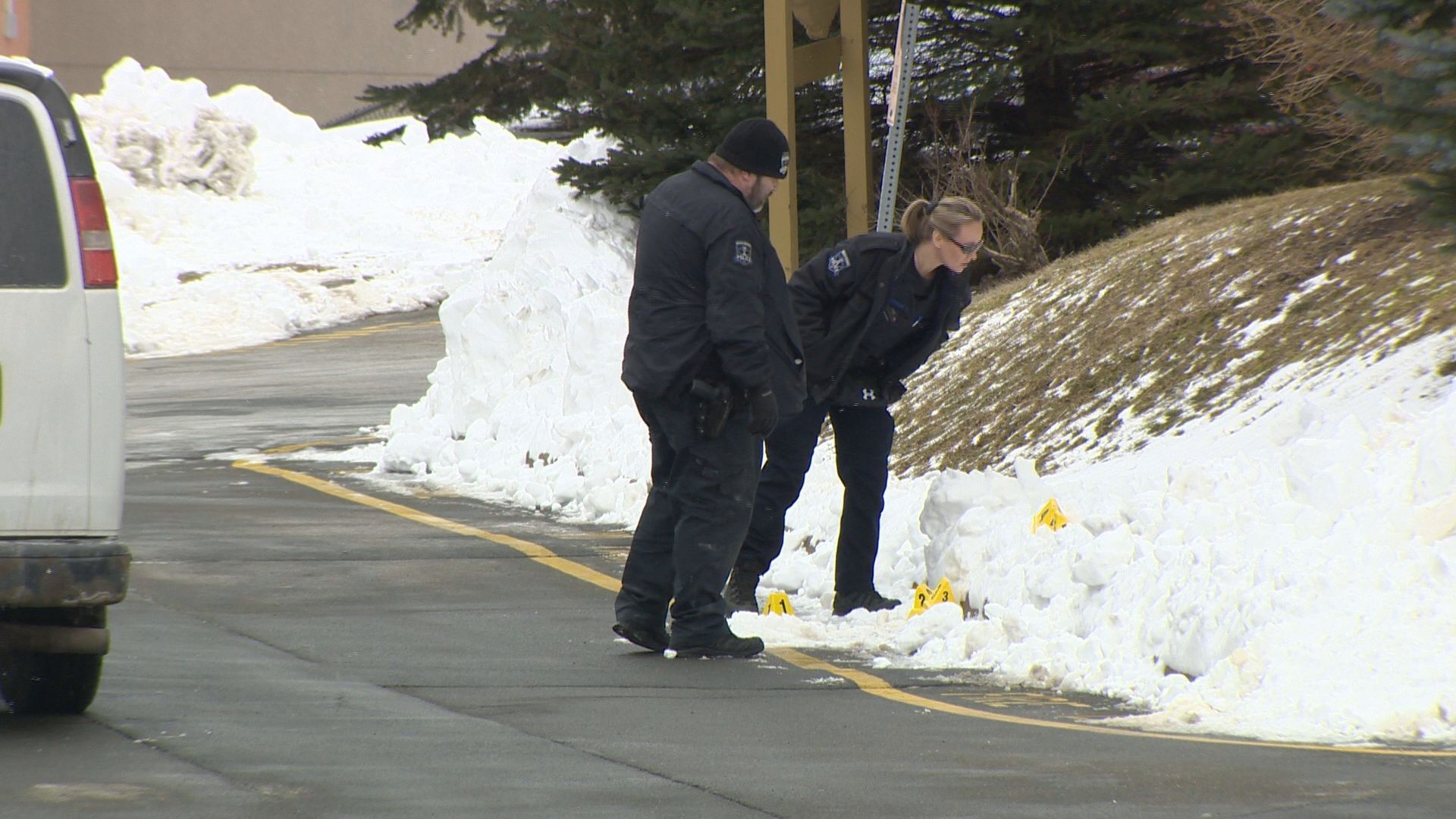 Halifax Regional Police investigate a shooting at a home on Larry Uteck Blvd., on Feb. 13, 2021.