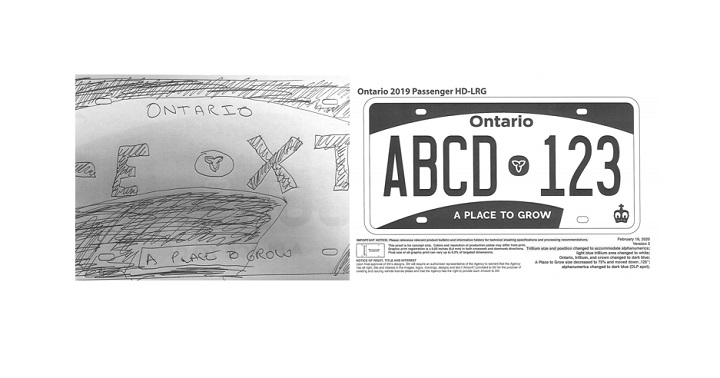 A hand-drawn mockup (left) and an alternate design (right) of the new version of the Ontario licence plate were contained in a Freedom of Information request filed by Global News.