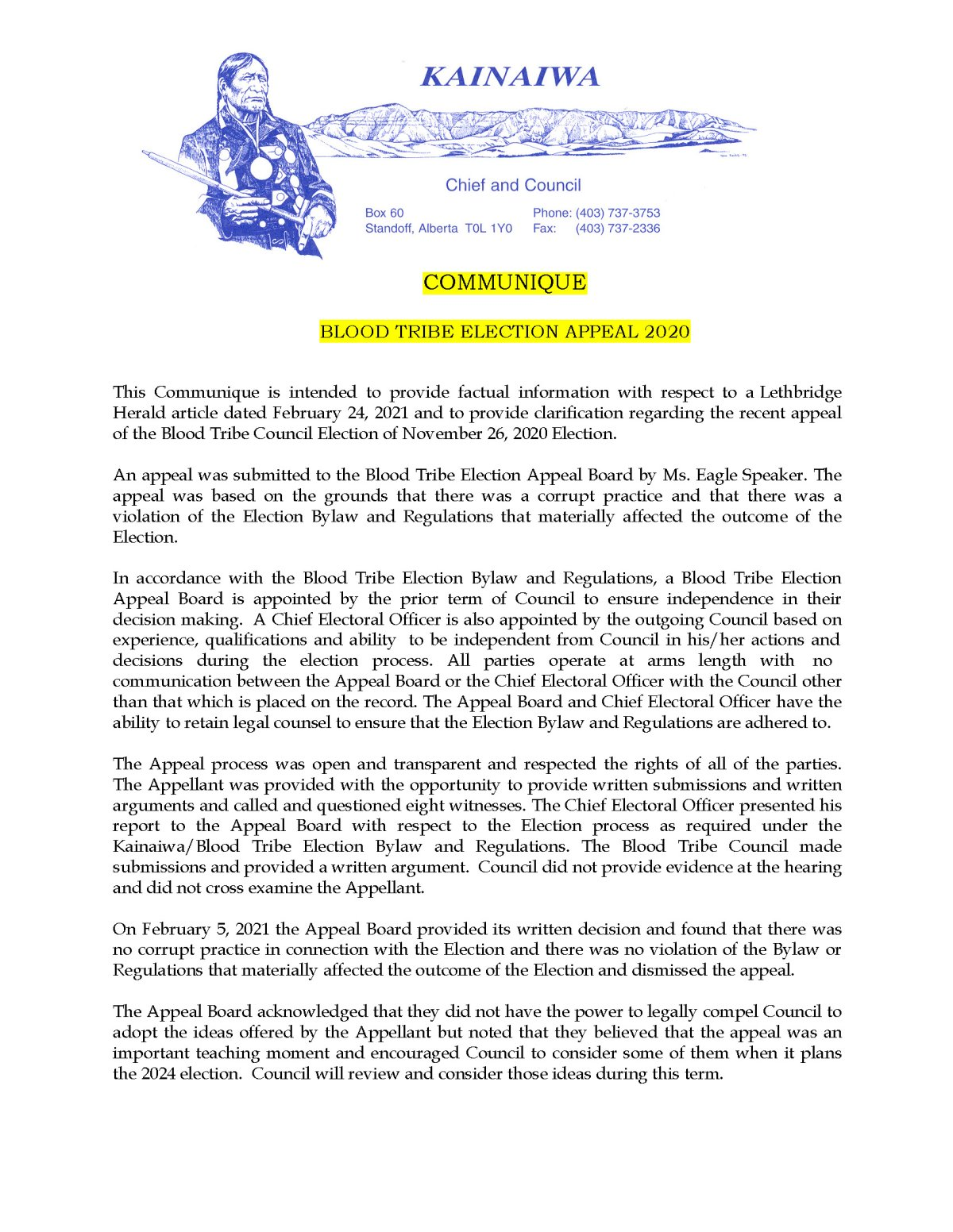 Communique Regarding The 2020 Blood Tribe Election Appeal – (February 25, 2021)
