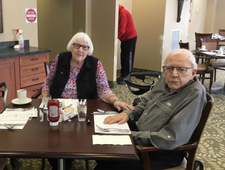 Donna Irwin, 84, lives with her husband Howard Irwin, 88, at Granite Ridge Retirement Residence in Gravenhurst, Ont.