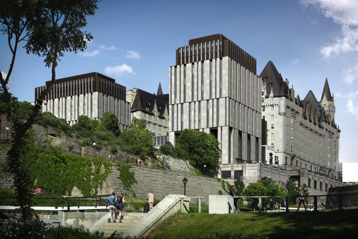 A rendering of the final design of the proposed addition to the Château Laurier, presented to Ottawa city council in February 2021.