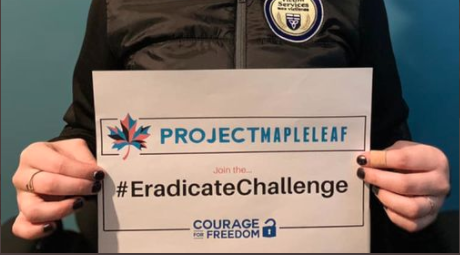 The Eradicate Challenge asks everyone to print off the #Eradicate Challenge signs and share a video or photo holding the sign to spread awareness about the buying and selling of children in Canada.