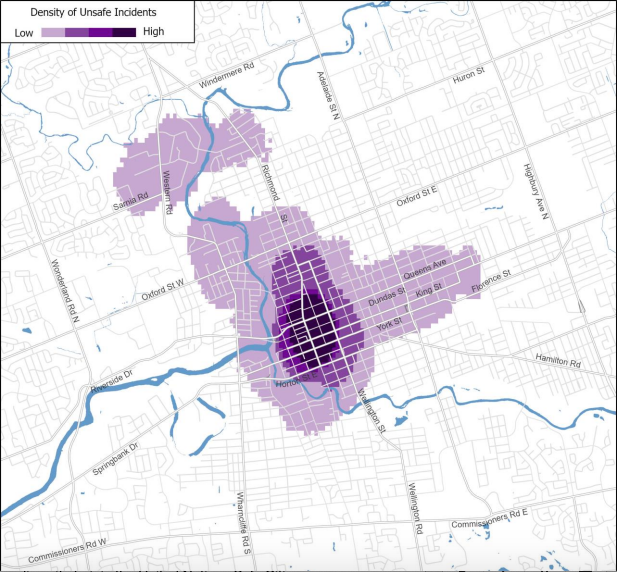 Between July 1, 2018 and December 31, 2018, a total of 1,825 pins were created by participants using the online mapping tool to identify either safe or unsafe locations in London.