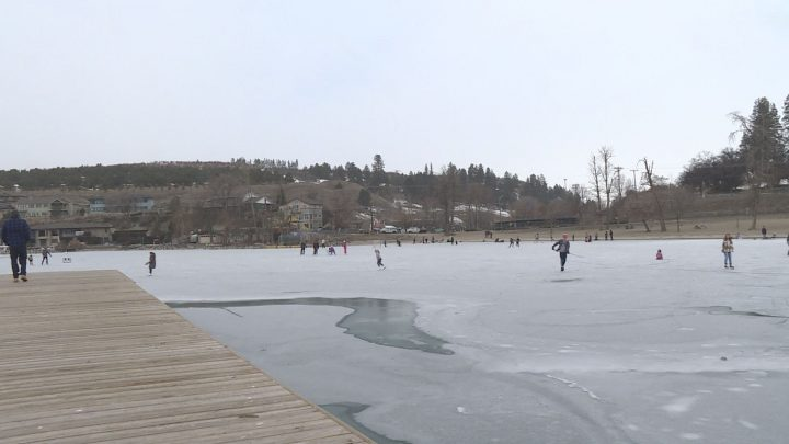 A man was rescued by some good Samaritans after he fell through the ice on Kalamalka Lake on Sunday.