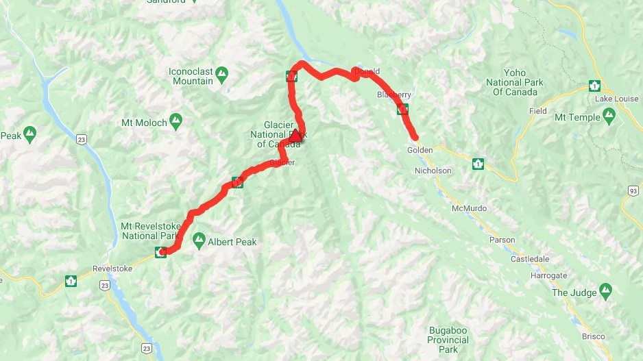DriveBC says a vehicle incident in Glacier National Park has resulted in a 127-kilometre closure between Revelstoke and Golden.