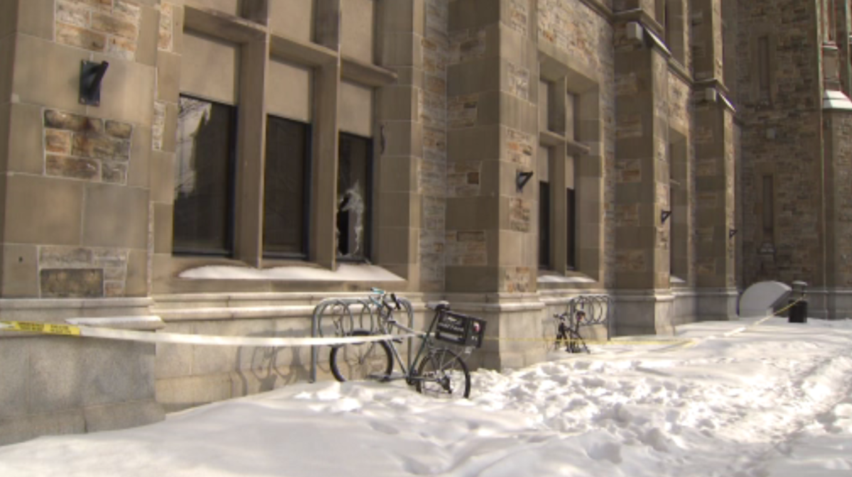A window was seen shattered at the Connaught Building on MacKenzie Avenue on Sunday, Feb. 7, 2021. Police said a man was arrested and is facing charges for arson-related offences.