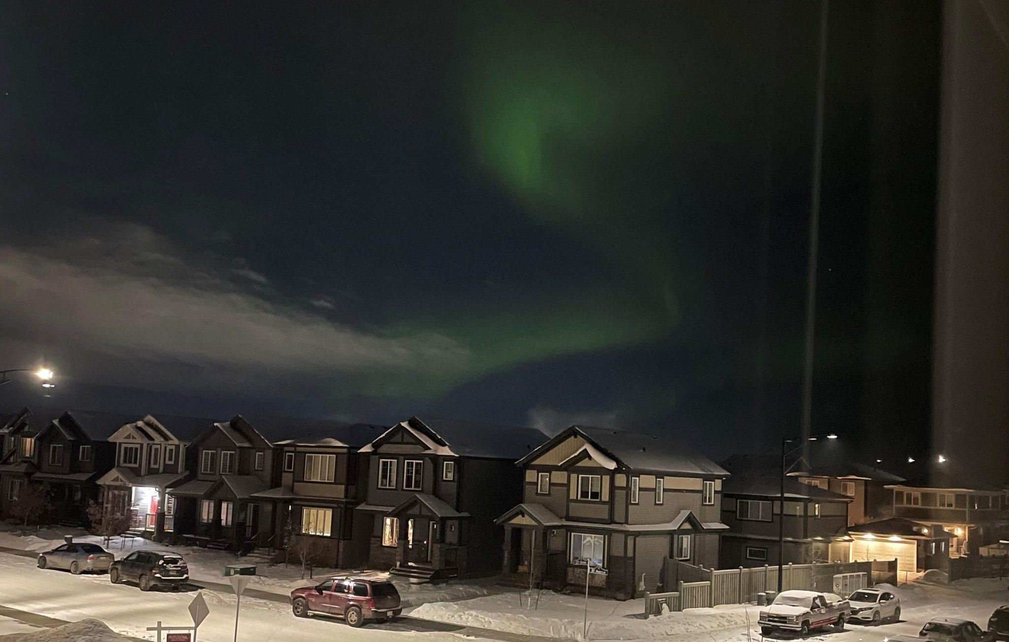 The northern lights were highly visible over Edmonton on Saturday, Feb. 6, 2021. Shot taken in west Edmonton neighbourhood of Rosenthal.