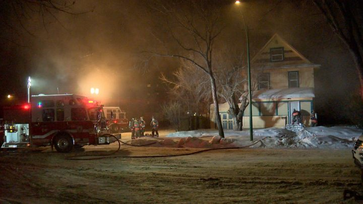 Flames and smoke could be seen coming out of a Saskatoon home Tuesday evening.