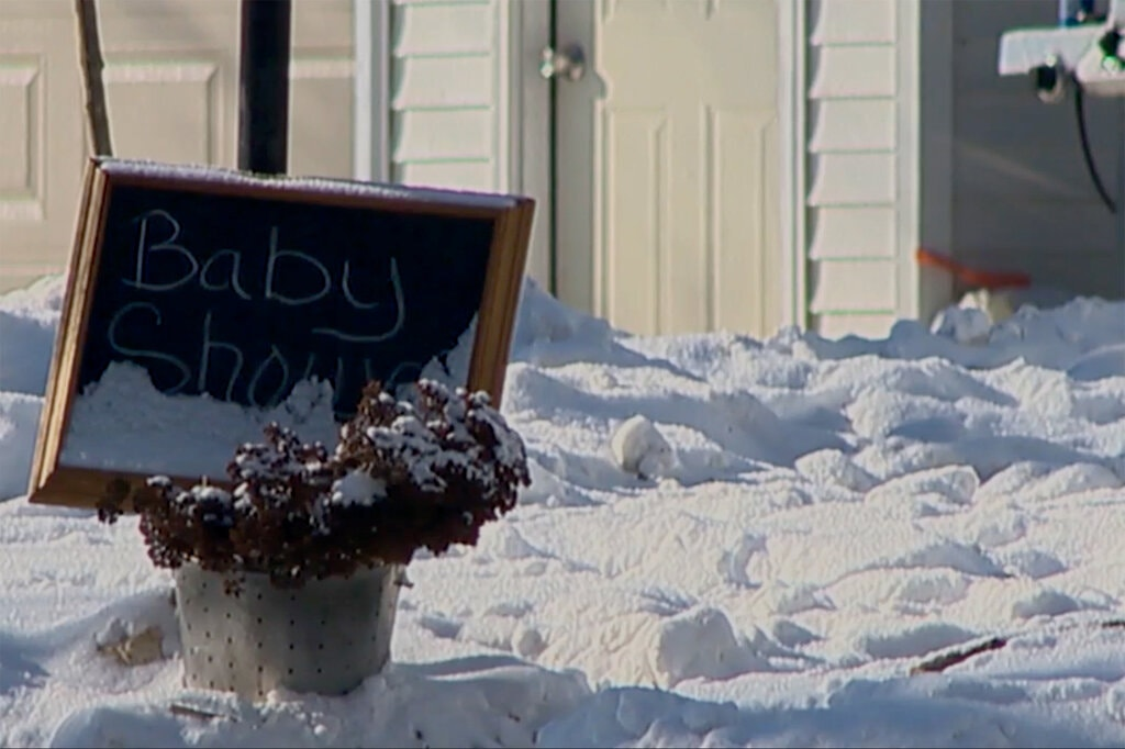 The site of a fatal cannon explosion during a baby shower is shown in this photo from Gaines Township, Mich.