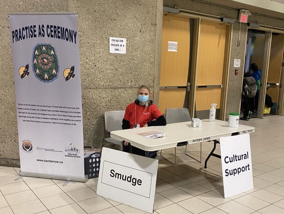 The Bent Arrow Traditional Healing Society set up at the Edmonton Convention Centre.