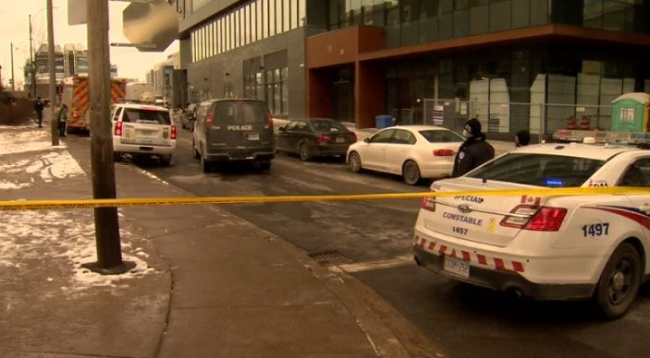 Police were on scene of check address call where officers located explosives in Liberty Village.