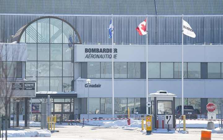 A Bombardier plant is seen in Montreal on Thursday, February 11, 2021.
