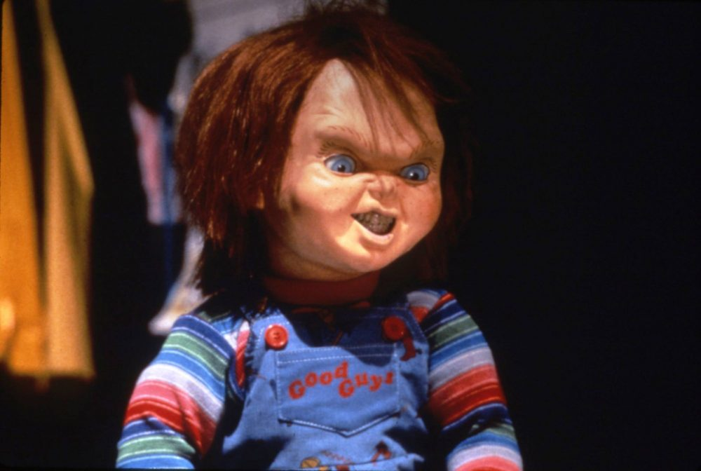 Chucky the killer doll is shown in an image from the 'Child's Play' horror franchise.