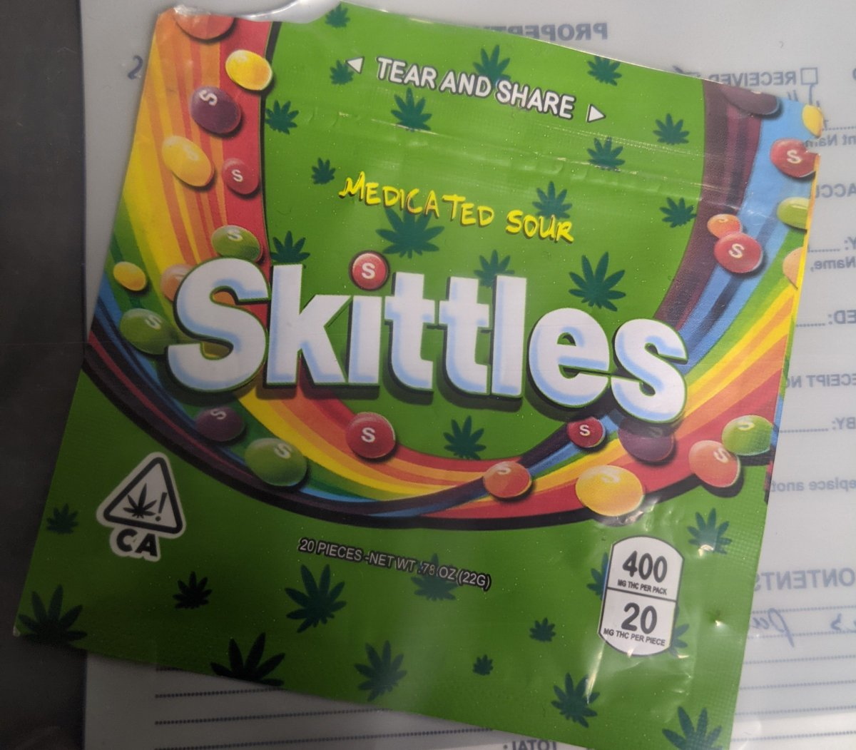 OPP say a 3-year-old ate a large amount of cannabis candy made to look like Skittles. The child was rushed to hospital in life-threatening condition.