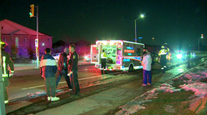 Emergency crews at the scene where a pedestrian was struck by a vehicle in the area of Confederation Parkway and Eglinton Avenue on Saturday.