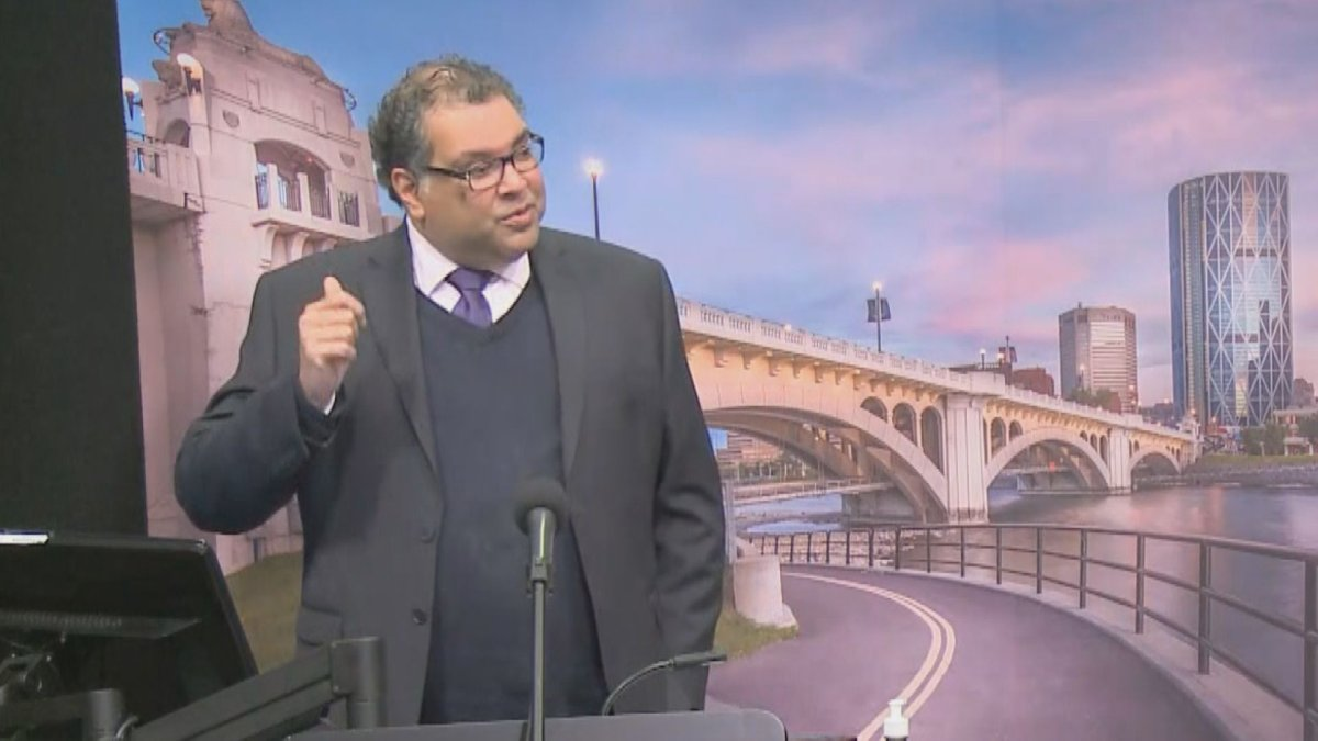 Calgary Mayor Naheed Nenshi announces the city's state of local emergency was extended, pictured on Feb. 23, 2021.
