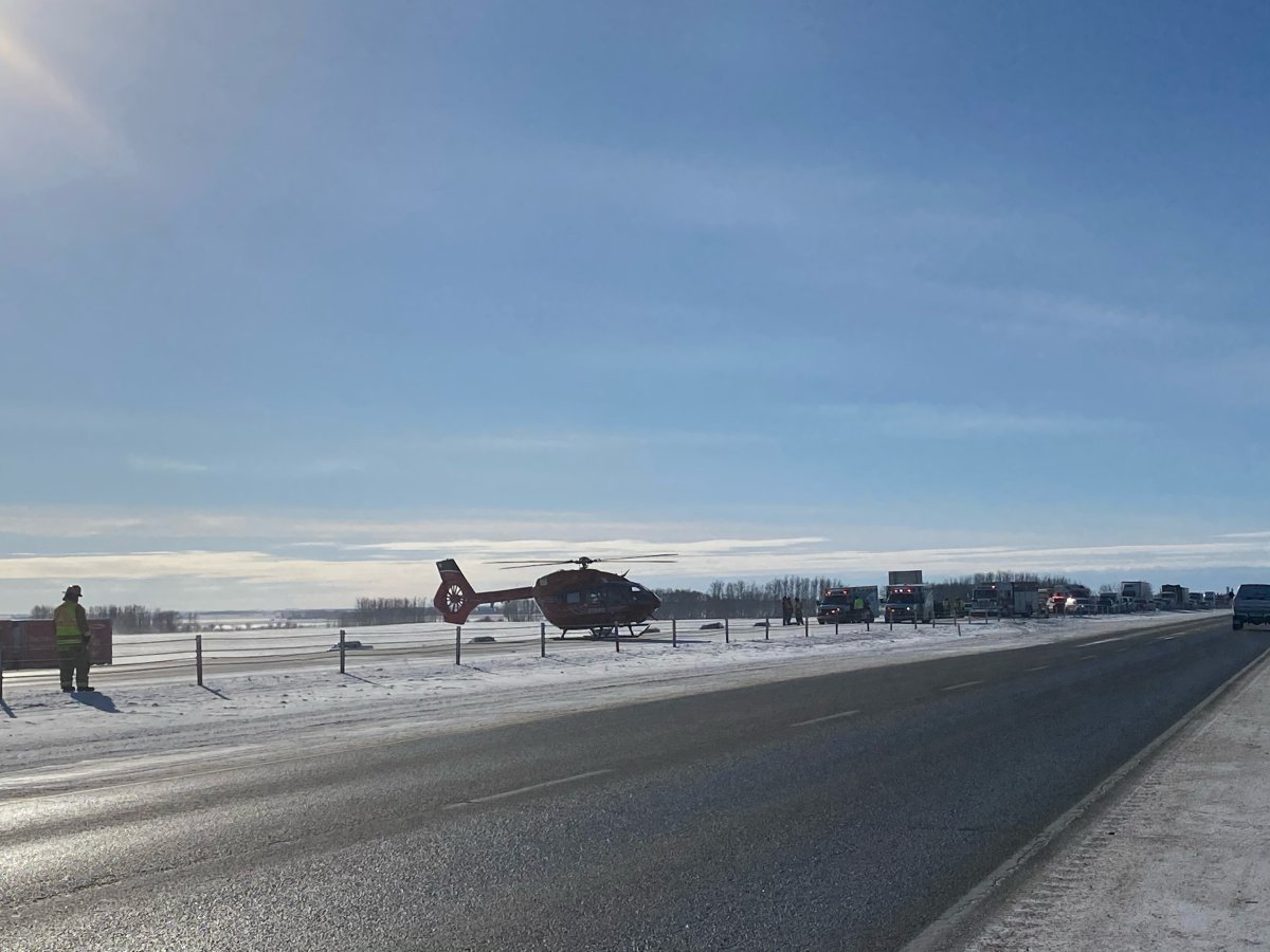 Two people were injured, one with life-threatening injuries, in a single-vehicle collision on the QEII Highway between Olds and Didsbury Wednesday, Feb. 17, 2021.