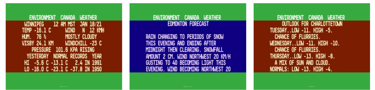 Some familiar sample screens from Gary Kash's Retro Weather app.