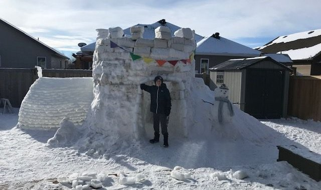 Alberta boy endures cold temperatures and many hours to build backyard igloos