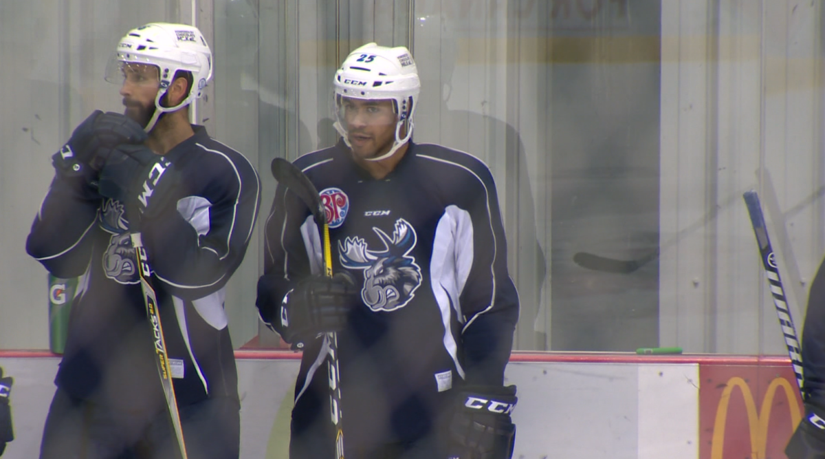 C.J. Suess practising with the Manitoba Moose at the Bell MTS Iceplex.