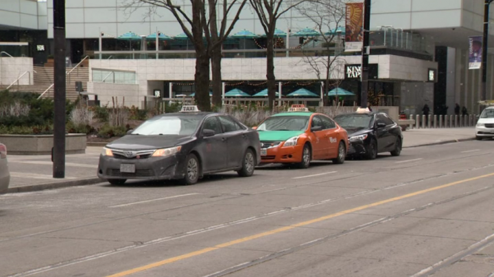Taxis are seen in Toronto.