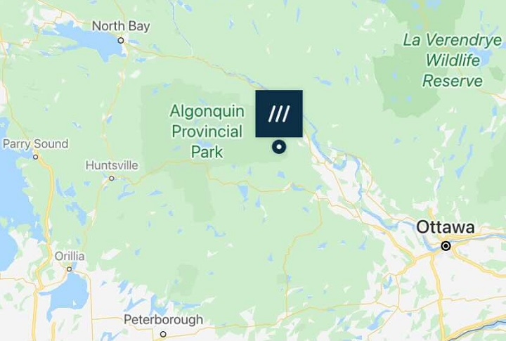 A screenshot showing a what3words location in Ontario.