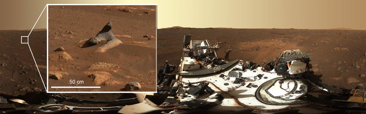 Visto en el primer panorama de 360 grados tomado por el instrumento Mastcom-Z, esta roca tallada en el aire muestra cuántos detalles capturan los sistemas de cámaras.