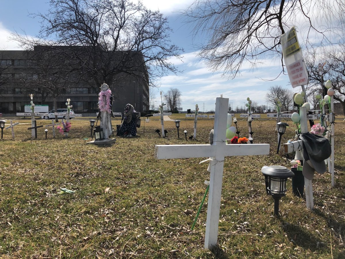 A memorial sits outside of London's Elgin-Middlesex Detention Centre to honour the inmates who have died at the troubled jail.