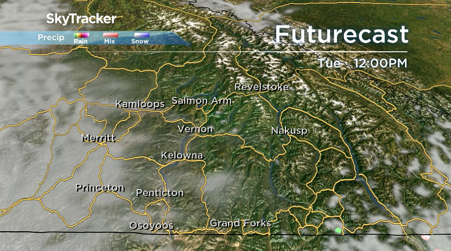A few clouds return to the Okanagan on Tuesday.