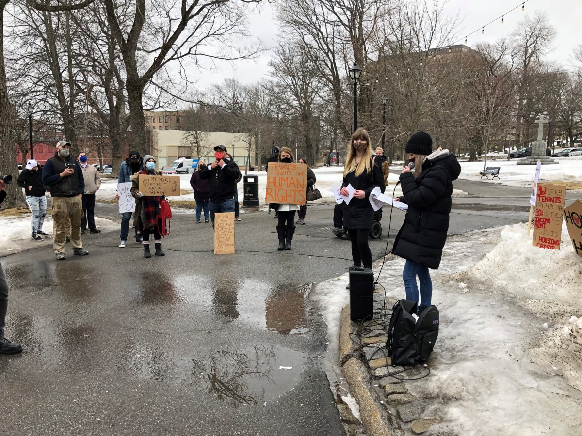 Affordable housing advocates, including ACORN New Brunswick, demonstrate in uptown Saint John to call on the N.B. government to increase protections for tenants in the province.