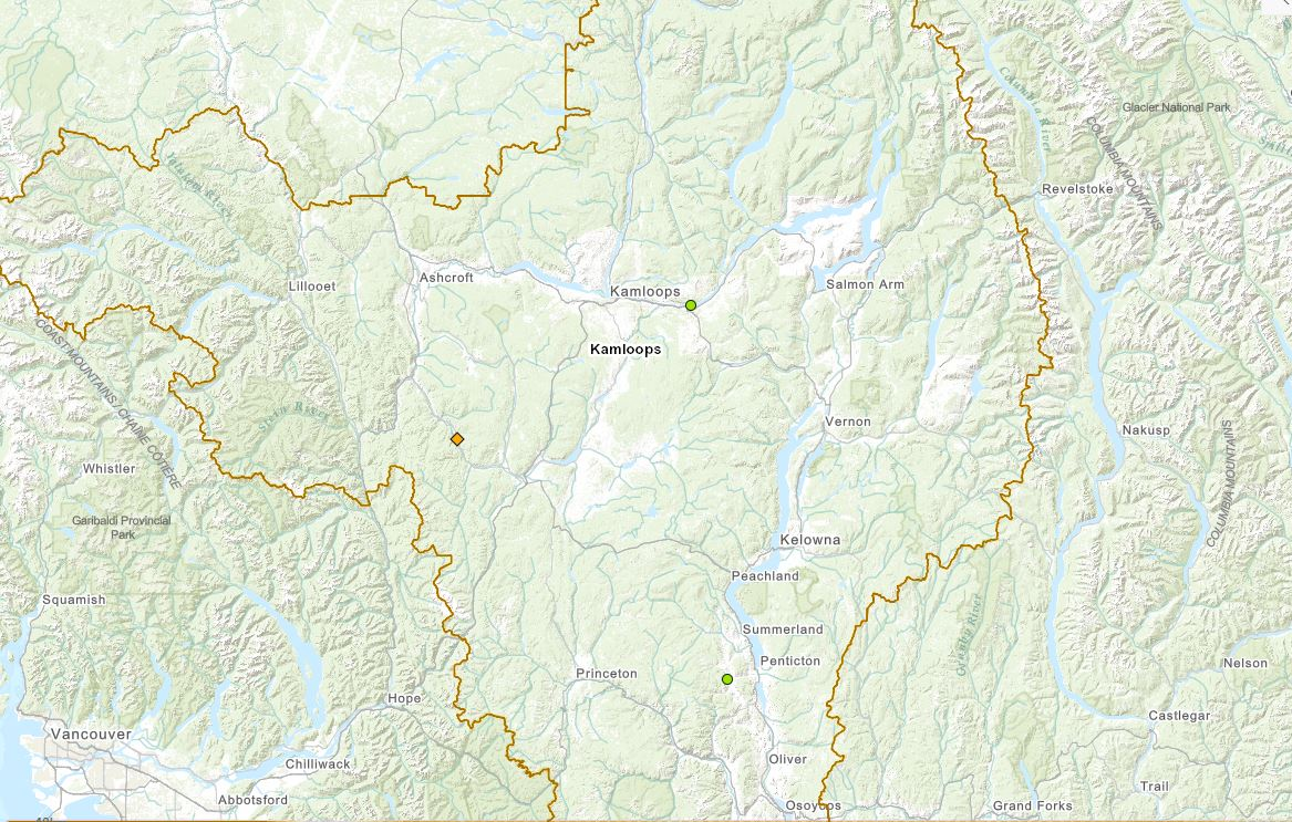 Three small grass fires broke out in B.C.'s Southern Interior on March 13 and March 14, 2021.