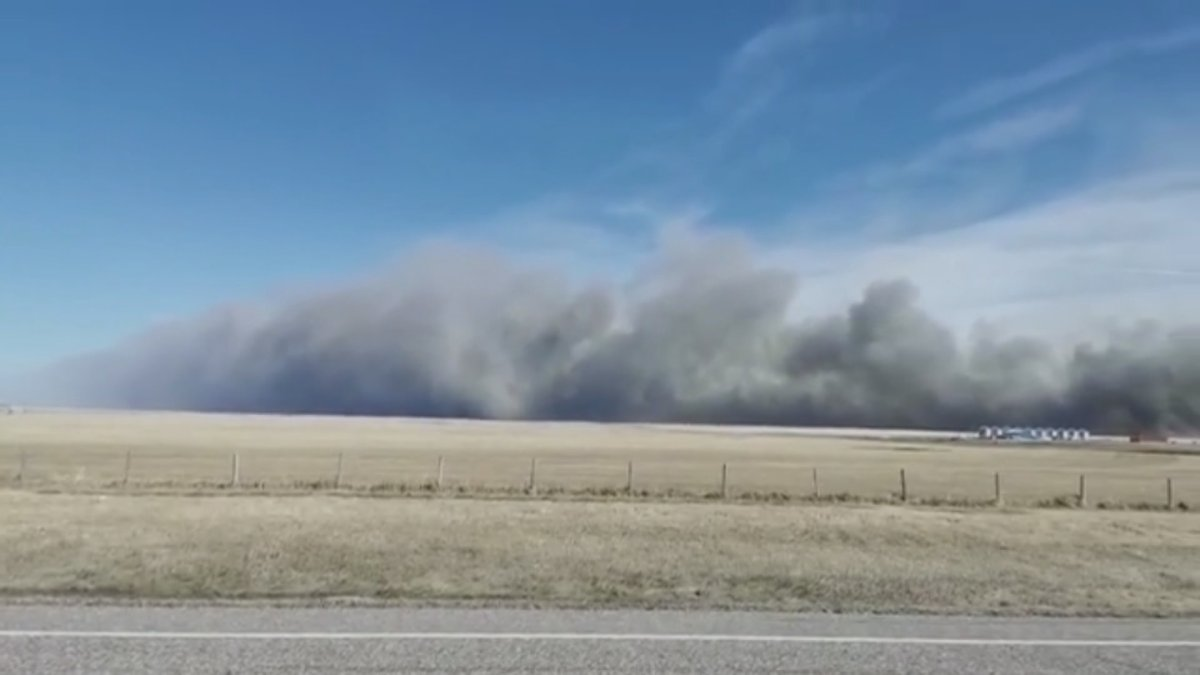 A grass fire that ravaged about 15,000 acres burned on the Blood Reserve on Sunday, March 28, 2021.