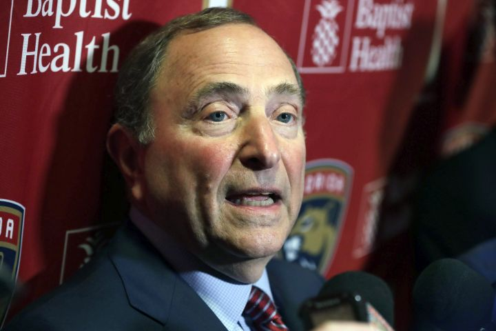 National Hockey League Commissioner Gary Bettman speaks to members of the media , Saturday, March 7, 2020, in Sunrise, Fla.