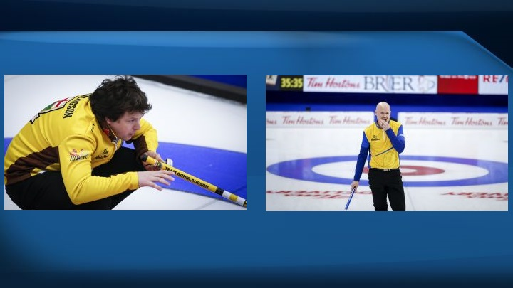 Manitoba's Jason Gunnlaugson (left) moved into sole possession of first place in Pool A at the Canadian men's curling championship on Monday. Kevin Koe's (right) first-place Wild Card Two had the lone perfect record in Pool B after an 11-3 rout of Nunavut's Peter Mackey in the evening.