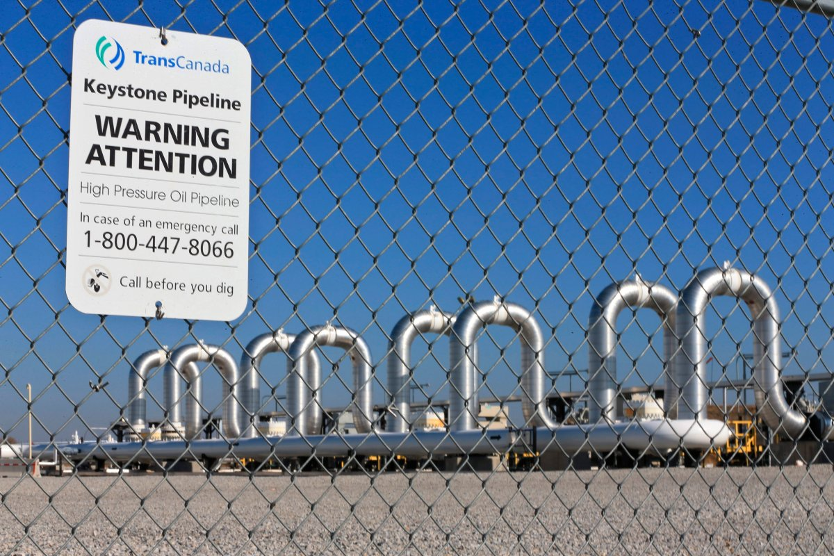 This Nov. 3, 2015 file photo shows the Keystone Steele City pumping station, into which the planned Keystone XL pipeline is to connect to, in Steele City, Neb.