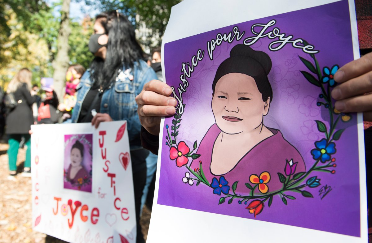 People take part in a protest called 'Justice for Joyce' in Montreal, Saturday, Oct. 3, 2020, where they demanded Justice for Joyce Echaquan and an end to all systemic racism.